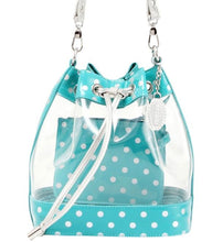 Load image into Gallery viewer, SCORE! Clear Sarah Jean Designer Crossbody Polka Dot Boho Bucket Bag-Turquoise and Silver