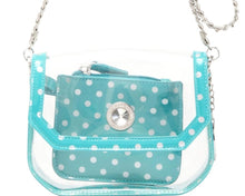 Load image into Gallery viewer, SCORE! Chrissy Small Designer Clear Crossbody Bag - Turquoise and Silver
