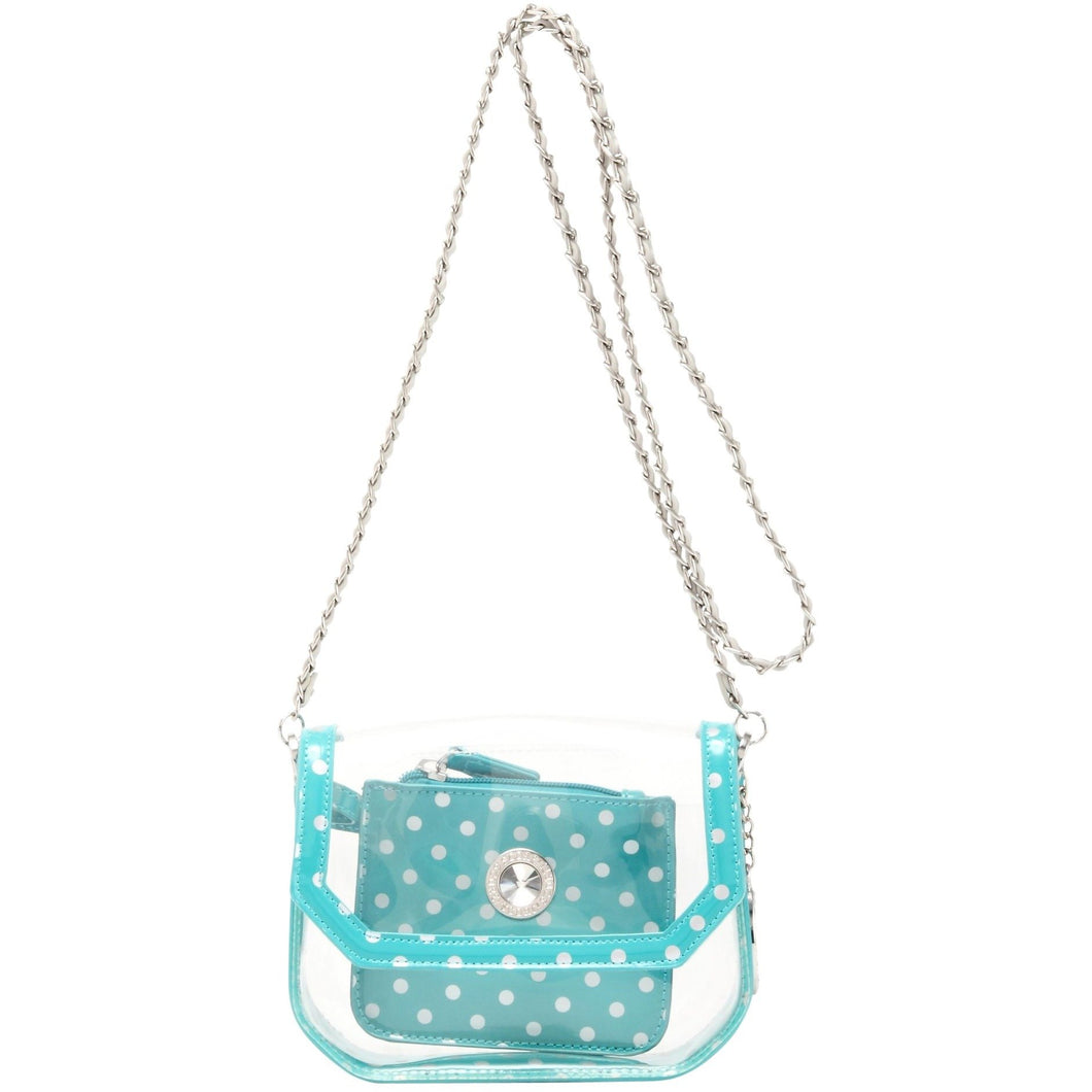 SCORE! Chrissy Small Designer Clear Crossbody Bag - Turquoise and Silver