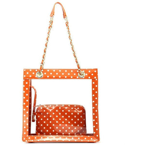 SCORE! Andrea Large Clear Designer Tote for School, Work, Travel - Burnt Sienna Orange and White