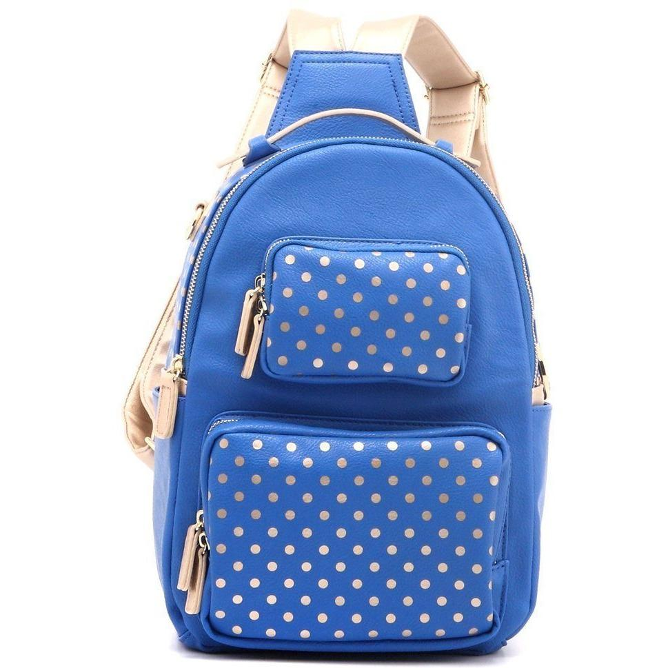 SCORE! Natalie Michelle Large Polka Dot Designer Backpack - Imperial Royal Blue and Gold Metallic