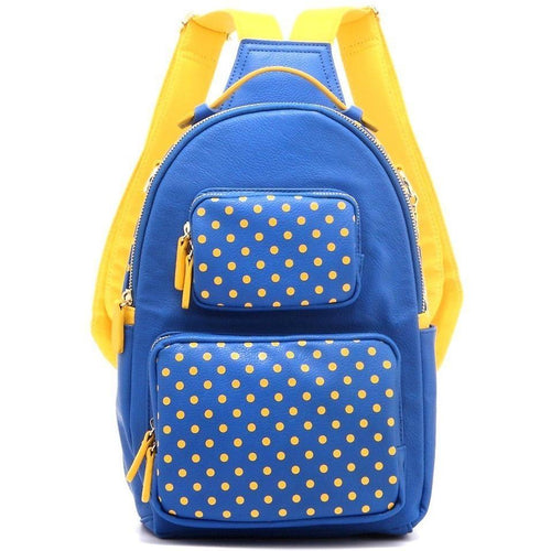 SCORE! Natalie Michelle Large Polka Dot Designer Backpack - Royal Blue and Yellow Gold