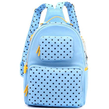 Load image into Gallery viewer, SCORE! Natalie Michelle Large Polka Dot Designer Backpack- Light Blue, Navy Blue & Yellow Gold