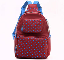 Load image into Gallery viewer, SCORE! Natalie Michelle Large Polka Dot Designer Backpack - Maroon and Blue