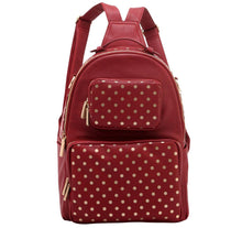 Load image into Gallery viewer, SCORE! Natalie Michelle Large Polka Dot Designer Backpack - Maroon and Gold