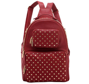 SCORE! Natalie Michelle Large Polka Dot Designer Backpack - Maroon and Gold