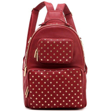 Load image into Gallery viewer, SCORE! Natalie Michelle Large Polka Dot Designer Backpackge - Maroon and Gold