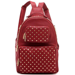 SCORE! Natalie Michelle Large Polka Dot Designer Backpackge - Maroon and Gold