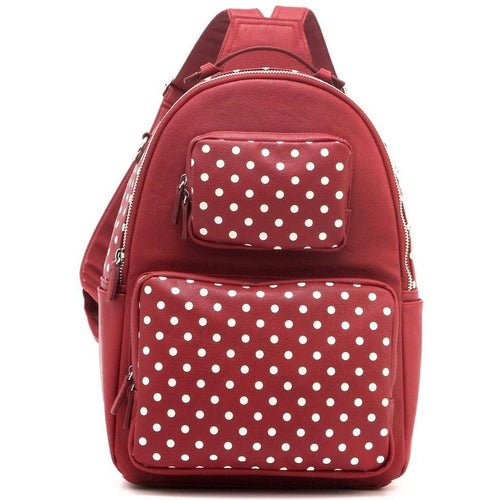 SCORE! Natalie Michelle Large Polka Dot Designer Backpack - Maroon and White