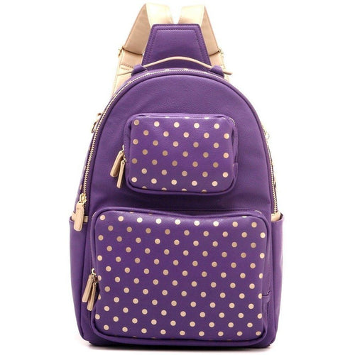 SCORE! Natalie Michelle Large Polka Dot Designer Backpack - Royal Purple and Gold Metallic