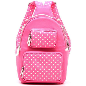 SCORE! Natalie Michelle Medium Polka Dot Designer Backpack - Pink and White