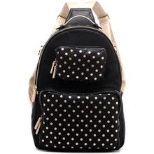 Load image into Gallery viewer, SCORE! Natalie Michelle Large Polka Dot Designer Backpack - Black and Metallic Gold
