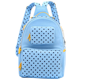 SCORE! Natalie Michelle Medium Polka Dot Designer Backpack  - Light Blue, Navy Blue and Yellow Gold