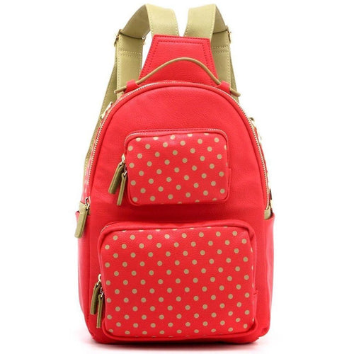SCORE! Natalie Michelle Medium Polka Dot Designer Backpack - Red and Olive Green