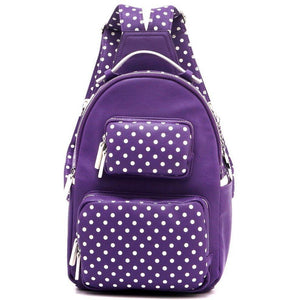 SCORE! Natalie Michelle Medium Polka Dot Backpack - Purple and White