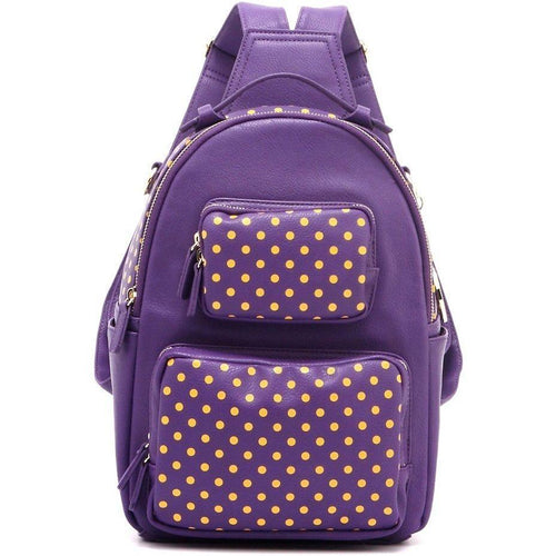 SCORE!'s Natalie Michelle Medium Polka Dot Designer Backpack- Purple and Gold Yellow