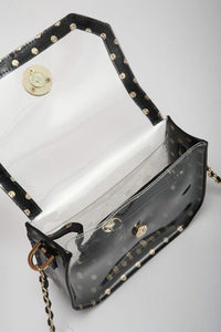 SCORE! Chrissy Small Designer Clear Crossbody Bag - Black and Gold Gold