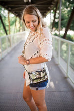 Load image into Gallery viewer, SCORE! Chrissy Small Designer Clear Crossbody Bag - Black and Gold Yellow