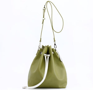 SCORE! Sarah Jean Crossbody Large BoHo Bucket Bag - Olive Green and White