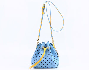 SCORE! Sarah Jean Small Crossbody Polka dot BoHo Bucket Bag - Light Blue, Navy Blue and Yellow Gold
