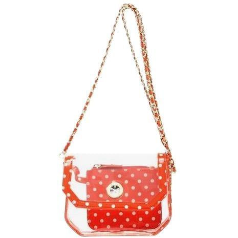 SCORE! Chrissy Small Designer Clear Crossbody Bag - Orange and White