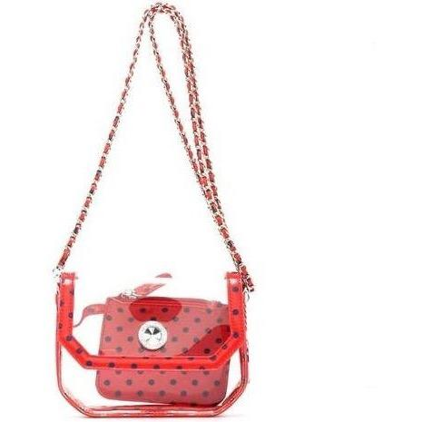 SCORE! Chrissy Small Designer Clear Crossbody Bag - Red and Blue