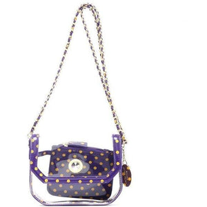 SCORE! Chrissy Small Designer Clear Crossbody Bag - Purple and Gold Yellow