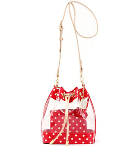 SCORE! Clear Sarah Jean Designer Crossbody Polka Dot Boho Bucket Bag-Red, White and Gold