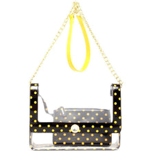 Load image into Gallery viewer, SCORE! Chrissy Medium Designer Clear Cross-body Bag -Black &Yellow Gold UWO Titans, 