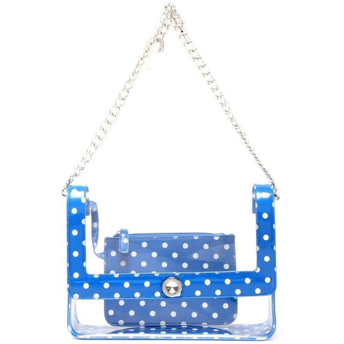 SCORE! Chrissy Medium Designer Clear Cross-body Bag - Royal Blue and White