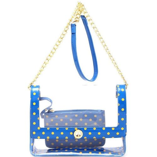 SCORE! Chrissy Medium Designer Clear Cross-body Bag-Imperial Blue and Yellow Gold