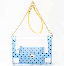 Load image into Gallery viewer, SCORE! Chrissy Medium Designer Clear Cross-body Bag - Light Blue, Navy Blue and  Yellow Gold