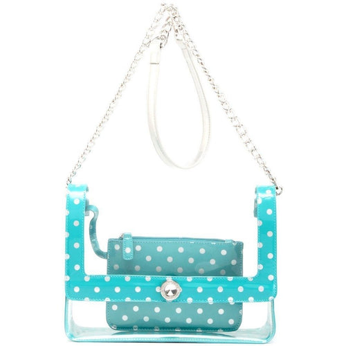 SCORE! Chrissy Medium Designer Clear Cross-body Bag - Turquoise and Silver