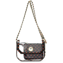 Load image into Gallery viewer, SCORE! Chrissy Small Designer Clear Crossbody Bag - Black and Orange