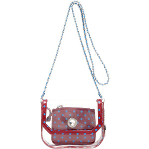 SCORE! Chrissy Small Designer Clear Crossbody Bag - Maroon and Blue