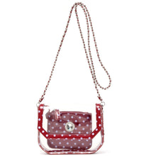Load image into Gallery viewer, SCORE! Chrissy Small Designer Clear Crossbody Bag - Maroon and Lavender