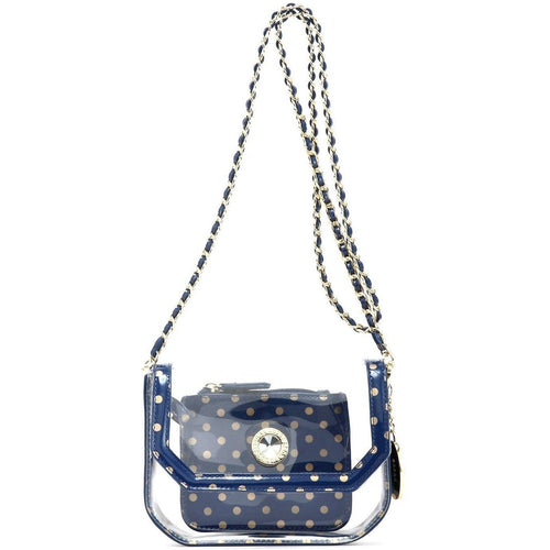 SCORE! Chrissy Small Designer Clear Crossbody Bag - Navy Blue and Gold
