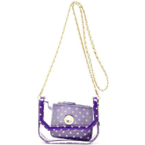 SCORE! Chrissy Small Designer Clear Crossbody Bag - Purple and Gold Gold