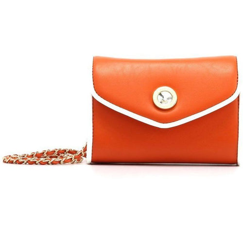 SCORE! Eva Designer Crossbody Clutch - Burnt Sienna Orange and White