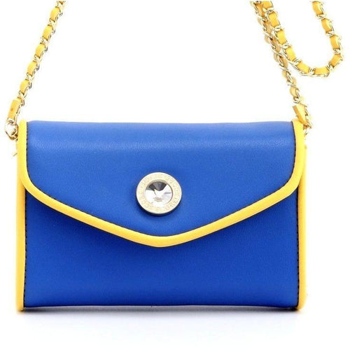 SCORE! Eva Designer Crossbody Clutch- Royal Blue and Gold Yellow