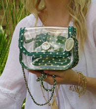Load image into Gallery viewer, SCORE! Chrissy Small Designer Clear Crossbody Bag - Green and White