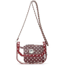 Load image into Gallery viewer, SCORE! Chrissy Small Designer Clear Crossbody Bag- Maroon and White