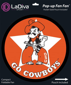Oklahoma State University~ OSU Cowboys & Cowgirls~Pop-Up Fan Fan with Pouch