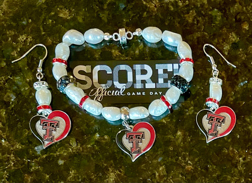 Texas Tech heart logo pearl and Rhinestone bracelet and earring set