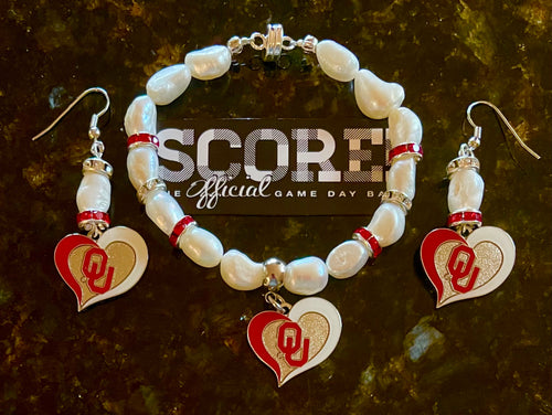 Oklahoma University Sooners Heart Logo Pearl Earrings and bracelet set