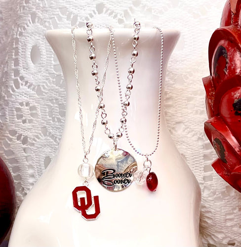 Oklahoma Sooner Trio Necklace Set