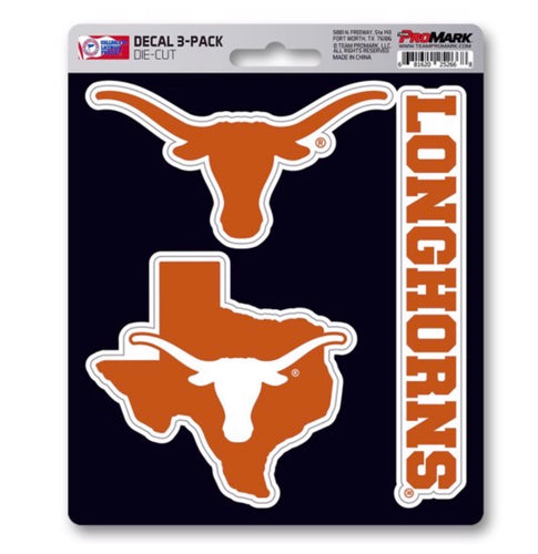 University of Texas Longhorns three pack decals