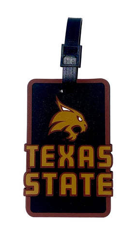 TEXAS STATE NCAA Licensed SOFT Luggage BAG TAG~ Maroon and Gold