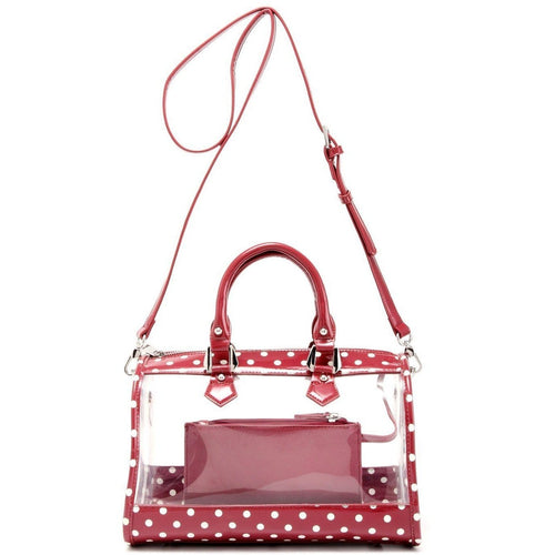 SCORE! Moniqua Large Designer Clear Crossbody Satchel - Maroon and White