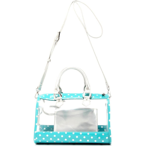 SCORE! Moniqua Large Designer Clear Crossbody Satchel - Turquoise and Silver